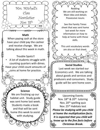 Mrs. Mitchell's  Class Newsletter Nov.  18 th