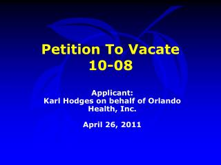 Petition To Vacate  10-08