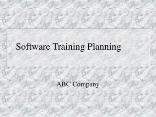 Software Training Planning
