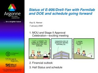 Status of E-906/Drell-Yan with Fermilab and DOE and schedule going forward