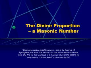 The Divine Proportion  – a Masonic Number