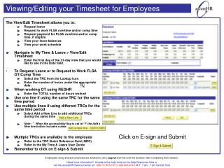 Viewing/Editing your Timesheet for Employees