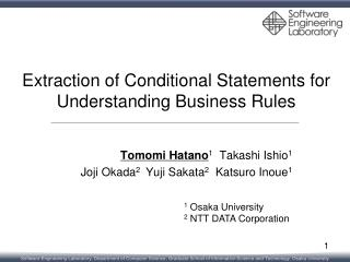 Extraction of Conditional Statements for Understanding Business Rules