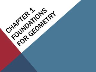 Chapter 1 Foundations for Geometry