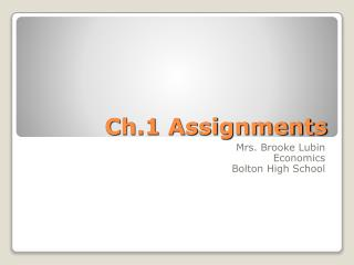 Ch.1 Assignments