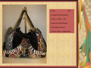 "# 919                         $40  Animal Print Patchwork  8 "" H x 16 "" W x 7 "" D"