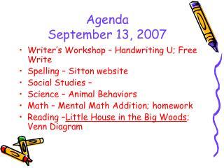 Agenda September 13, 2007