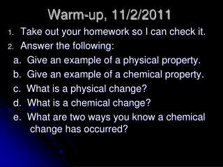 Warm-up, 11/2/2011