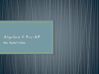 Algebra II Pre-AP