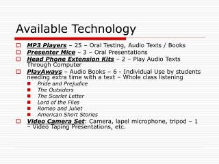 Available Technology