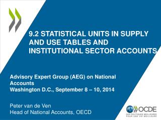 9.2 statistical units in supply and use tables and institutional sector accounts