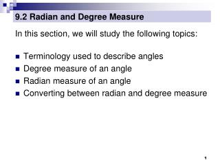 9.2 Radian and Degree Measure