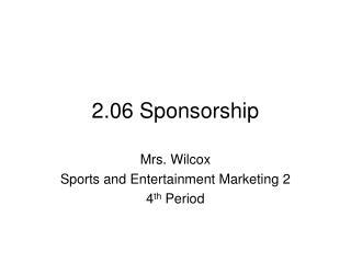 2.06 Sponsorship