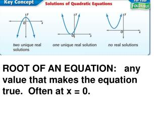 ROOT OF AN EQUATION:   any value that makes the equation true.  Often at x = 0.
