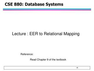 CSE  880 : Database Systems