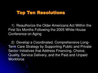 Top Ten Resolutions