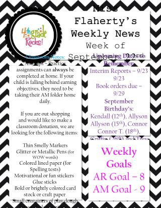 Upcoming Dates to Remember: Interim Reports � 9/23 Book orders due � 9/29  September Birthday�s: