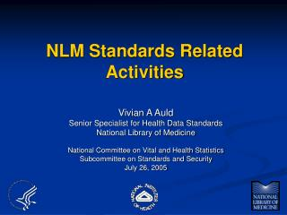 NLM Standards Related Activities