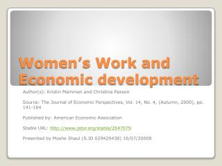 Women's Work and Economic development