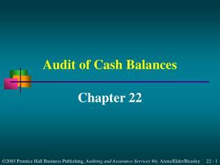 Audit of Cash Balances