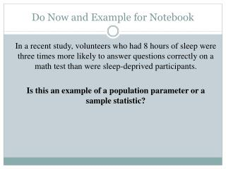 Do Now and Example for Notebook