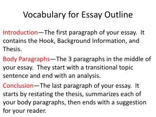 Vocabulary for Essay Outline