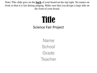 Title Science Fair Project