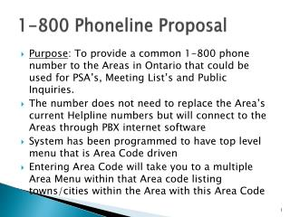 1-800  Phoneline  Proposal
