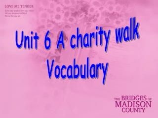 Unit 6 A charity walk Vocabulary
