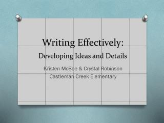 Writing Effectively: