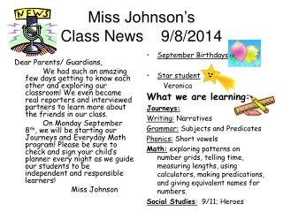 Miss Johnson's  Class News    9/8/2014