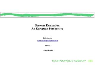 Systems Evaluation An European Perspective