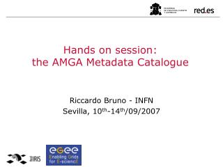 Hands on session:  the AMGA Metadata Catalogue