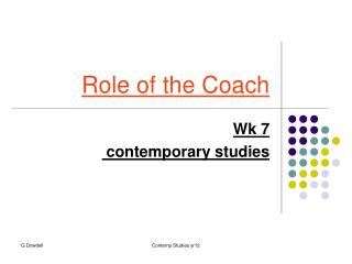 Role of the Coach