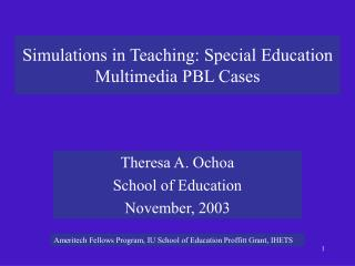 Simulations in Teaching: Special Education Multimedia PBL Cases