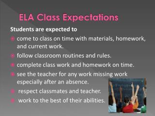 ELA Class  Expectations
