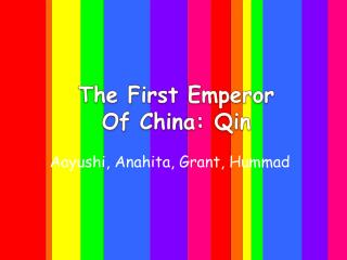 The First Emperor  Of China:  Qin