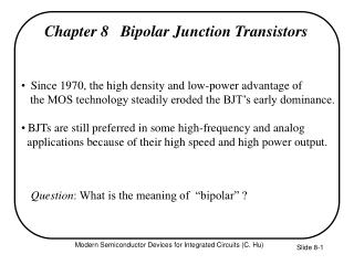 Chapter 8   Bipolar Junction Transistors