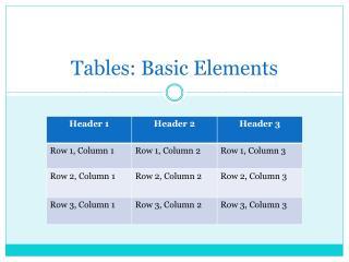 Tables: Basic Elements