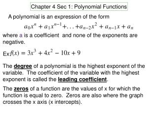 Chapter 4 Sec 1: Polynomial Functions