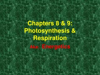 Chapters 8 & 9: Photosynthesis & Respiration