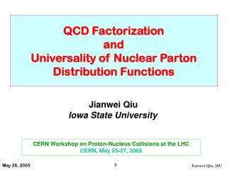 QCD Factorization  and  Universality of Nuclear Parton Distribution Functions