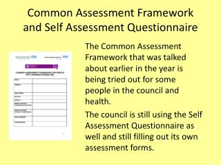 Common Assessment Framework and Self Assessment Questionnaire