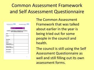 Common Assessment Framework and Self Assessment Questionnaire