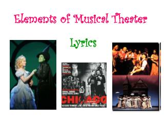 Elements of Musical Theater