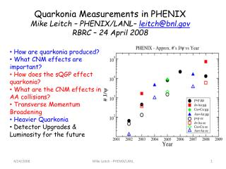 Quarkonia Measurements in PHENIX Mike Leitch – PHENIX/LANL–  leitch@bnl RBRC – 24 April 2008