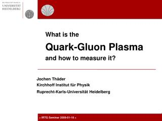 What is the  Quark-Gluon Plasma  and how to measure it?
