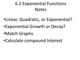 6.2 Exponential Functions Notes