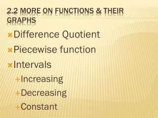 2.2 More on Functions & Their Graphs