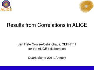 Results from Correlations in ALICE